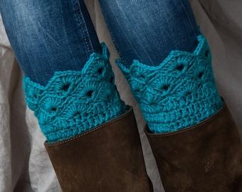 Teal boot cuffs/ teal leg warmers/ crochet boot toppers/ boot liners/ tall boots socks women teen girls ccessories gift idea