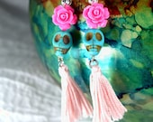 Dia De Los Muertos Pink Rose Earrings Day of the Dead Turquoise Skull Fiesta Cultura Mexico
