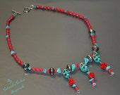 DIA De LOS MUERTOS Day Of The Dead Themed Turquoise Skull Red Coral Necklace Mexico Sugar Skulls Calaveras Calacas Mexican Latin Culture