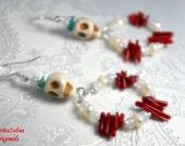 DIA De LOS MUERTOS Day Of The Dead Themed White Stone Skull Dangle Earrings Mexico Calavaras Sugar Skulls Mexican Latin Culture Halloween