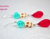 White Skull Earrings Dia De Los Muertos Day of the Day Theme Aqua Rose Dangle Earring Mexico Calaveras Mexican Culture Fuchia Drop Halloween