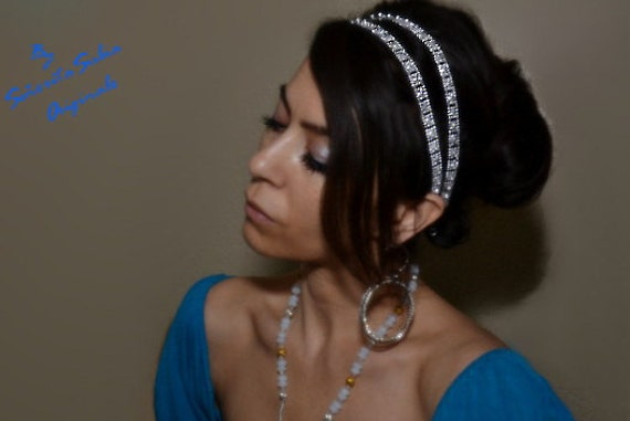 SPARKLING GRECIAN GODDESS Silver Double Headband Greek Roman Egyptian  Formal Casual Evening or Day Wear Women s Hair Accessories Girl Prom 681ee665914