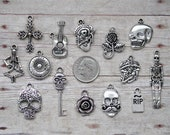 14pc or 5pc Day of the Dead Charm Set Lot Collection Jewelry, Scrapbooking Choose Charms, Split Rings, Lobster Clasps or European Bails