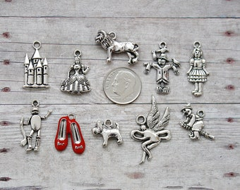 10pc or 5pc Wizard of Oz Charm Set Lot Collection /Jewelry, Scrapbooking, Crafts /Choose Charms, Split Rings, Lobster Clasps, European Bails