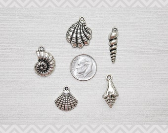 MINI Charm Set / 5 Pieces / Seashells/Sea Shells Set Lot Collection/Jewelry, Scrapbooking/Choose Split Rings,Lobster Clasps,European Bails