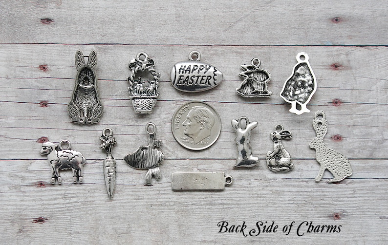 or European Bails Crafts  Choose Charms Split Rings,Lobster Clasps Scrapbook 12pc or 5pc Easter Charm Set Lot Collection  Jewelry