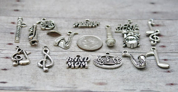 13pc or 5pc Jazz Music Charm Set Lot Collection //Instrument Saxaphone,Tuba,Note