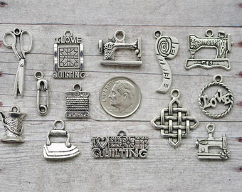 13pc or 5pc Quilting / Quilter Charm Set Lot Collection / Jewelry,Scrapbooking /Choose Charms, Split Rings, Lobster Clasps or European Bails