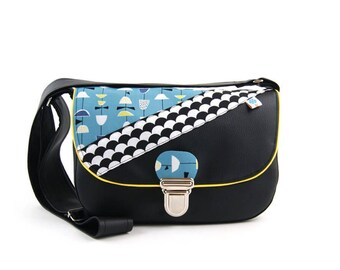 Little black bag for women in synthetic leather and mix of fabrics, lined with yellow piping