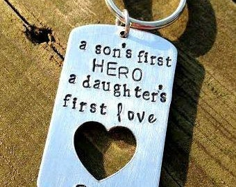Christmas Gift For New Dad Sons First Hero Key Chain Birthday Ideas Creative Gifts Personalized Daddy