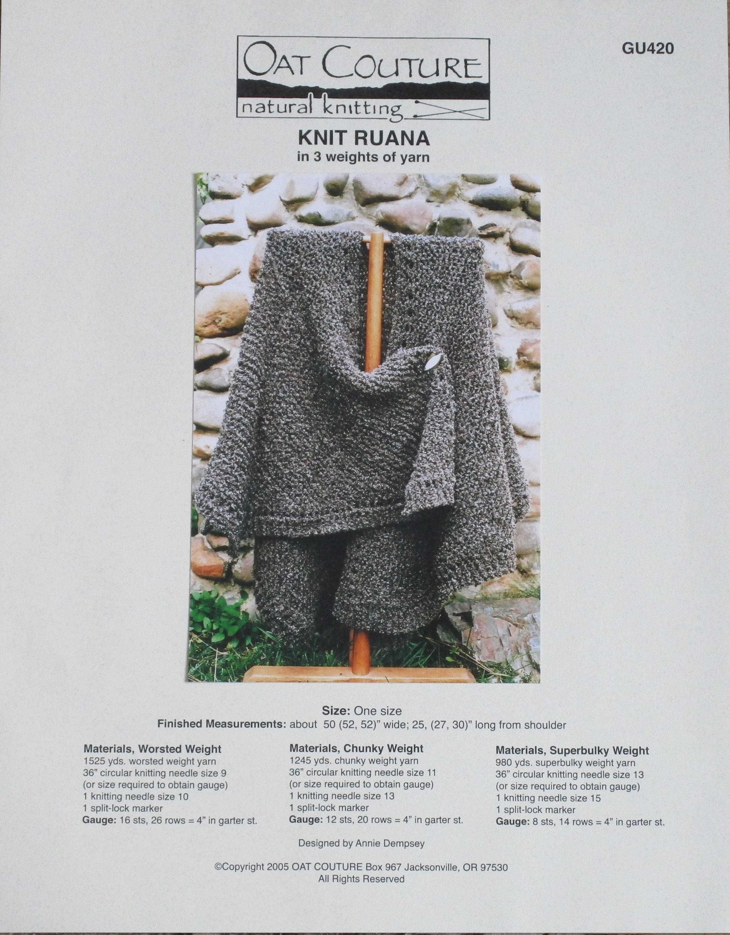 Knitting Pattern, Oat Couture, \'Knit Ruana\' from BarneswallowFarm on ...