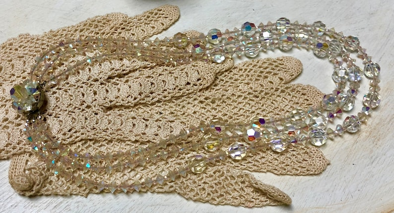 Wedding Kathryne L Wright Prom Graduated Clear AB 3 Strand Faceted Crystal Bead Necklace With Beaded Clasp By Me Vintage Up Cycled