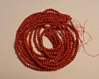 "Natural Color Italian 3mm To 5mm Iregularly Shaped Pebble/Potato Blood Red Coral Beads In 16"" Strands"