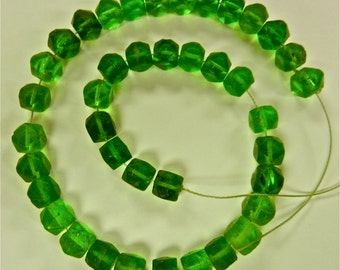 Facetted 1800's Vaseline Glass In Shades of Bright Green To Deep Emerald Green 40 Piece Strand 15 1/2 Inches Long