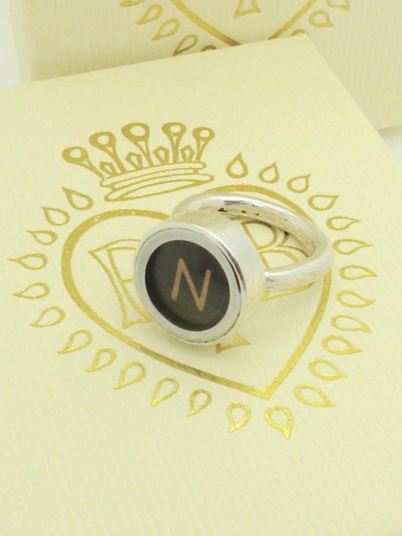 Letter N typewriter keypad ring sterling silver handmade