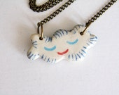 Dreamers ceramic smiling cloud pendant (small) - Summer Fun Jewellery