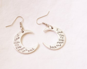 I love you to the moon and back earrings. Moon charms. Antique silver.