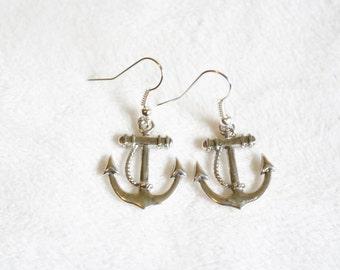 Silver anchor earrings. Dangle anchor earrings.