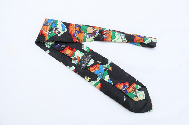Rare 1993 Vintage LOONEY TUNES MANIA Patterned Colorful Tie