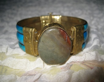 Turquoise Brass Stone Bangle