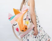 Unicorn large backpack for kids, Kids backpack, Children backpack, Printed backpack