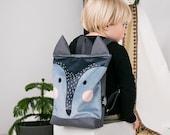 Wolf backpack, Kids backpack, Toddler backpack, Printed backpack