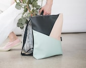 Vegan leather backpack, Mint and grey handmade backpack, Laptop backpack