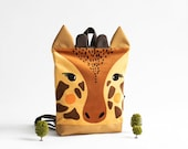 Giraffe backpack, Toddler backpack, Kids backpack, Printed waterproof backpack