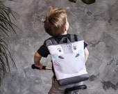 Hippo backpack, Kids backpack, Toddler backpack, Printed waterproof backpack