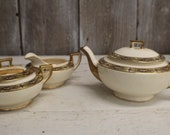 Vintage Homer Laughlin Teapot with Cream and Sugar Set Vandemere