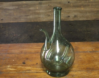 Vintage Green Glass Wine Chiller Decanter, Hand Blown Decanter
