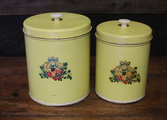 Vintage Metal Canister Set, Bright Yellow Kitchen Set