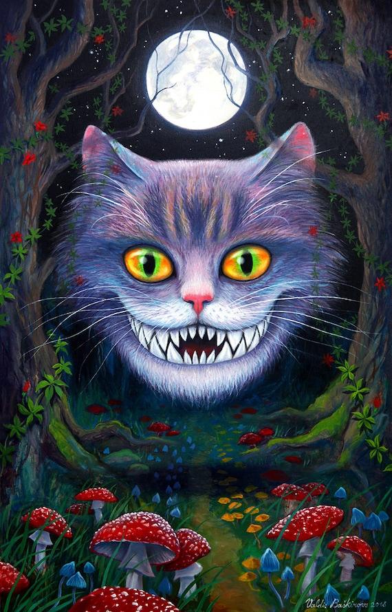 Alice In Wonderland Cheshire Cat Horror Art Original Etsy
