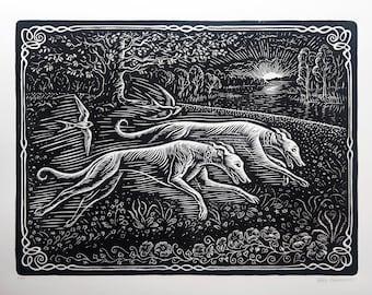 Greyhound Rescue Couple Linocut Print. Greyhound Art. Whippet, Italian Greyhound, Swallows.