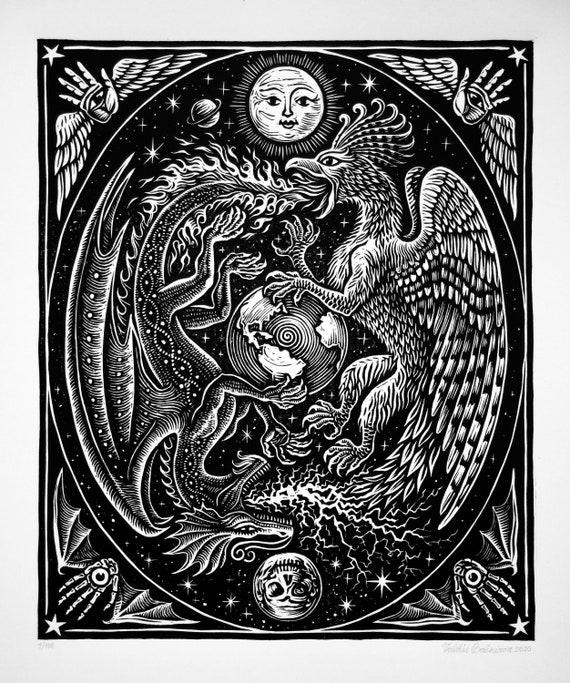 Celtic Dragon Kochschürze Mystic Yin Yang Artsy Höhenverstellbar Waschbar