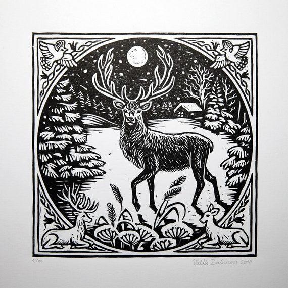 Printmaking Vintage Winter Decor Deers and Snow Original Print Deer  Lino Print Large  Linocut Limited Edition Hand Pulled