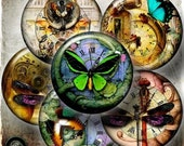 Set of 6 Fantasy Steampunk Dragonfly Butterfly GLASS Cabinet Drawer Knob Handles Pulls