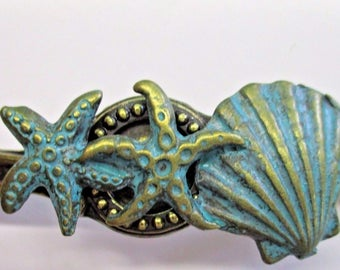 WOW! Set of 6 Vintage Bronze Nautical Beach Coastal Patina Shells Starfish Cabinet Drawer Handle Pulls