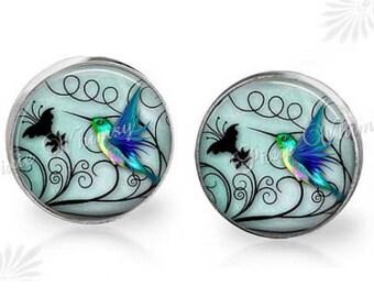 Set of 2 GORGEOUS Hummingbird Blue Green Cabinet Drawer Knob PullS Glass Birds