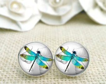 SET OF 2 GORGEOUS Blue Green Cabinet Drawer Knob PullS Dragonfly Dragonflies Glass Silver