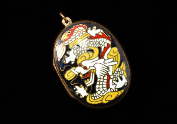 Chinese Cloisonné Locket with Dragon