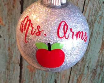 Christmas Ornament 2018, Christmas Ornament, Monogrammed Christmas Ornament, Teacher Gift, Personalized Teacher Gift
