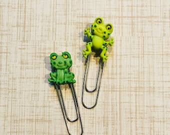Frog bookmarks, planner clip, paper clips for planners, frog paper, paper clip, gift for teachers