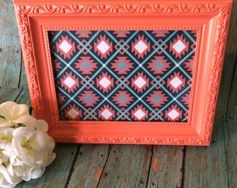 5x7 Handpainted Upcycled Coral Picture Frame