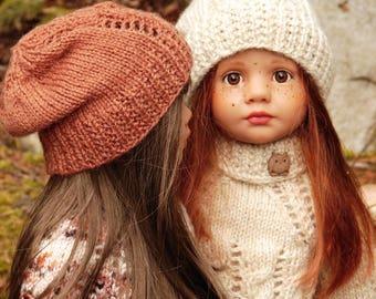 e7b728318a9 Shontae Slouchy PDF knitting pattern for slim all vinyl Gotz dolls a  matching slouchy hat by Debonair Designs