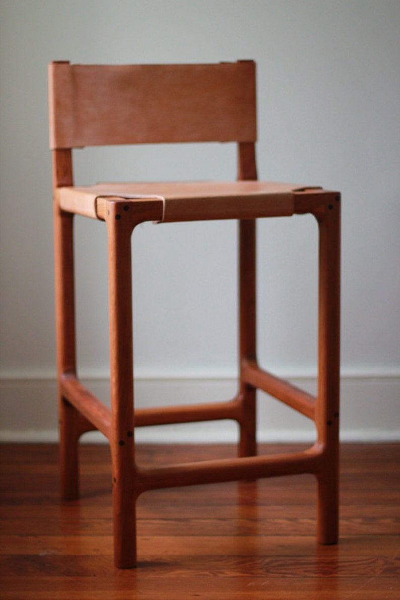 reputable site 5f616 a0d3a Cherry and Leather Counter Stool