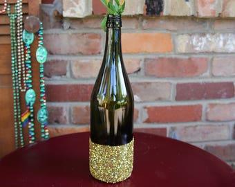 Gold Glitter Wedding Wine Bottle Centerpiece