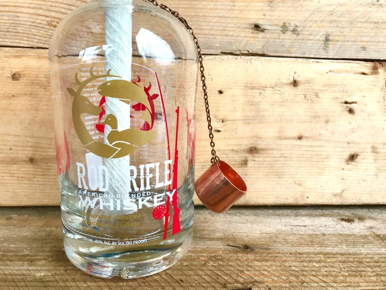 Rod and Rifle Tiki-torch  American Whiskey Recycled Bottle Table Top Tiki Torch