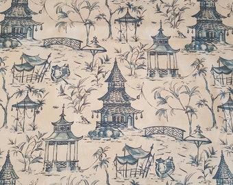 Oriental Pagoda Blue Toile 13 yards