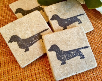 Dachshund Sausage Dog Etched Glass Coaster Handmade